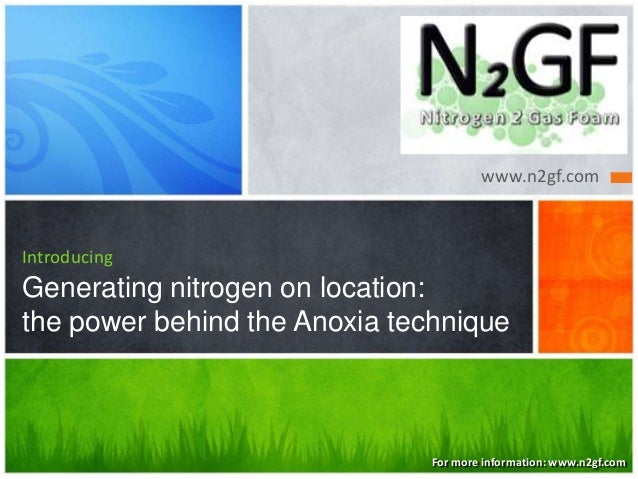 www.n2gf.com  Introducing  Generating nitrogen on location: the power behind the Anoxia technique  For more information: w...