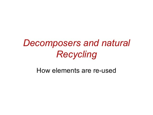 Decomposers and natural Recycling How elements are re-used