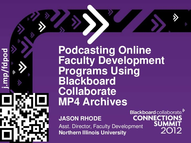 Podcasting Online Faculty Development Programs Using Blackboard Collaborate MP4 Archives
