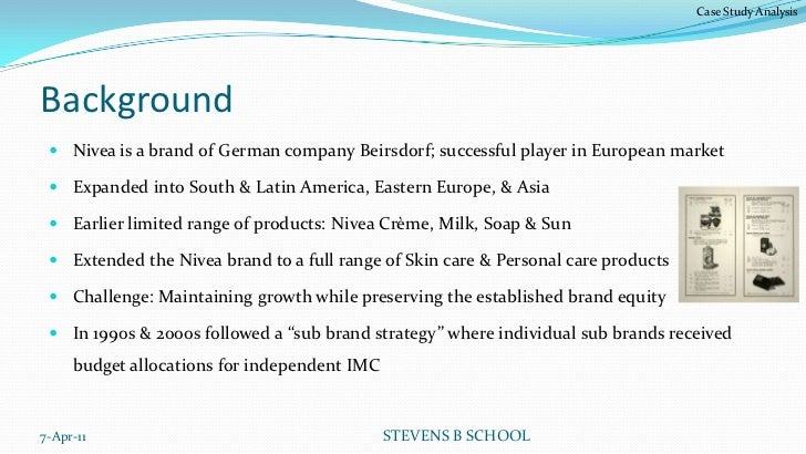 nivea case study A case study on nivea sun protection product market segment submitted to: miss vidhita sinha by hardik a sola (53) company background beiersdorf is an international skin care company wth leading brands such as nivea and eucerin they have expanded significantly in the uk market through effective segmentation that.
