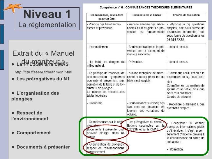 •   La FFESSM & la CMAS •   Les prérogatives du N1 •   L'organisation des plongées •   Respect de l'environnement •   Comp...