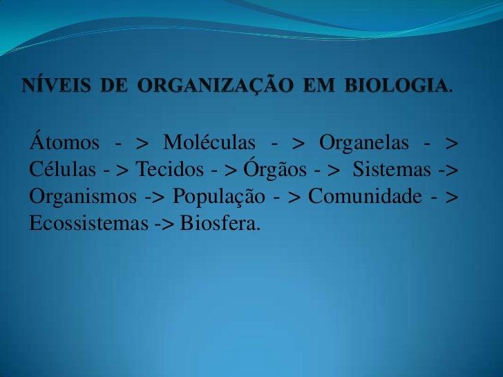 NÍVEIS DE ORGANIZAÇÃO EM BIOLOGIA.<br />Átomos - > Moléculas - > Organelas - > Células - > Tecidos - > Órgãos - >  Sistema...
