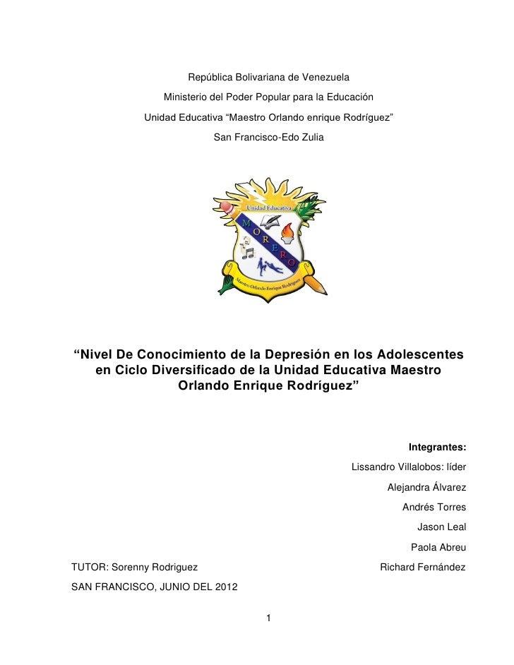 República Bolivariana de Venezuela                 Ministerio del Poder Popular para la Educación             Unidad Educa...