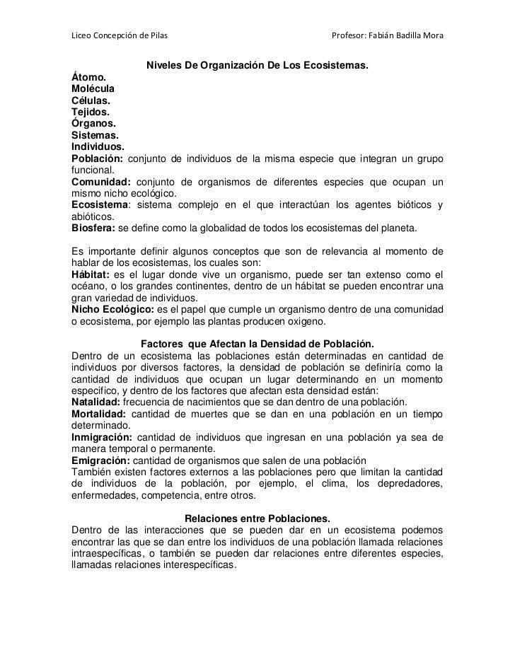 Liceo Concepción de Pilas                               Profesor: Fabián Badilla Mora                Niveles De Organizaci...