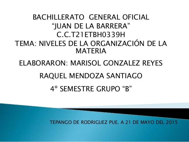 """BACHILLERATO GENERAL OFICIAL """"JUAN DE LA BARRERA"""" C.C.T21ETBH0339H TEMA: NIVELES DE LA ORGANIZACIÓN DE LA MATERIA ELABORAR..."""
