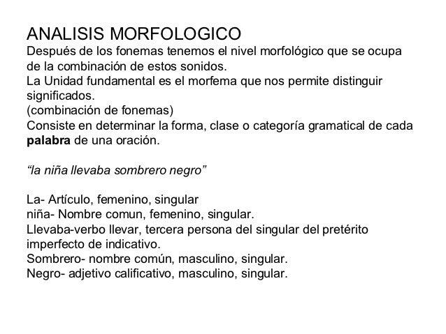 ANALISIS MORFOLOGICODespués de los fonemas tenemos el nivel morfológico que se ocupade la combinación de estos sonidos.La ...
