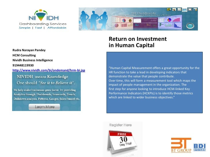 Return on Investment                                               in Human CapitalRudra Narayan PandeyHCM ConsultingNivid...