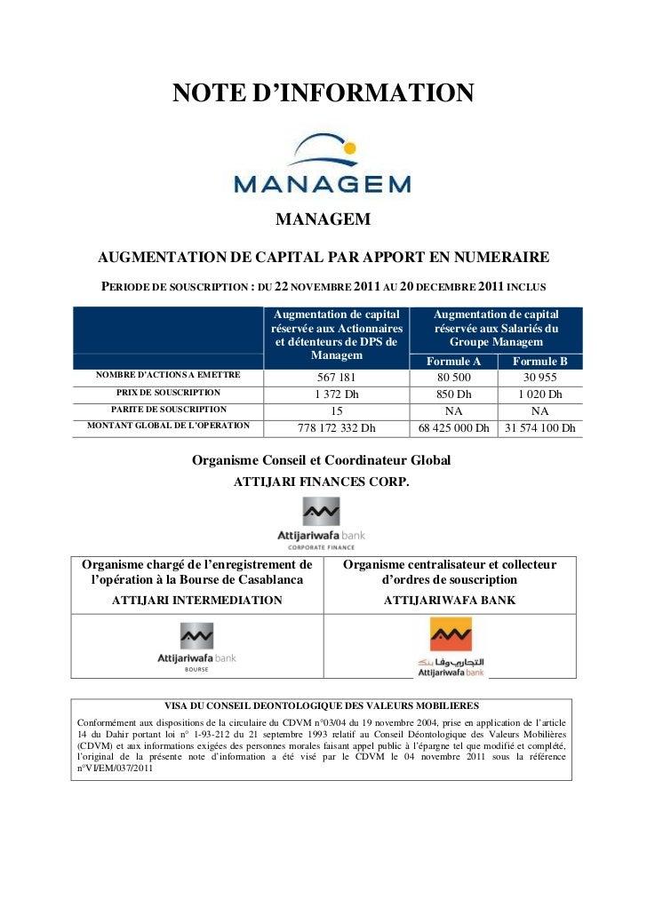 NOTE D'INFORMATION                                               MANAGEM    AUGMENTATION DE CAPITAL PAR APPORT EN NUMERAIR...