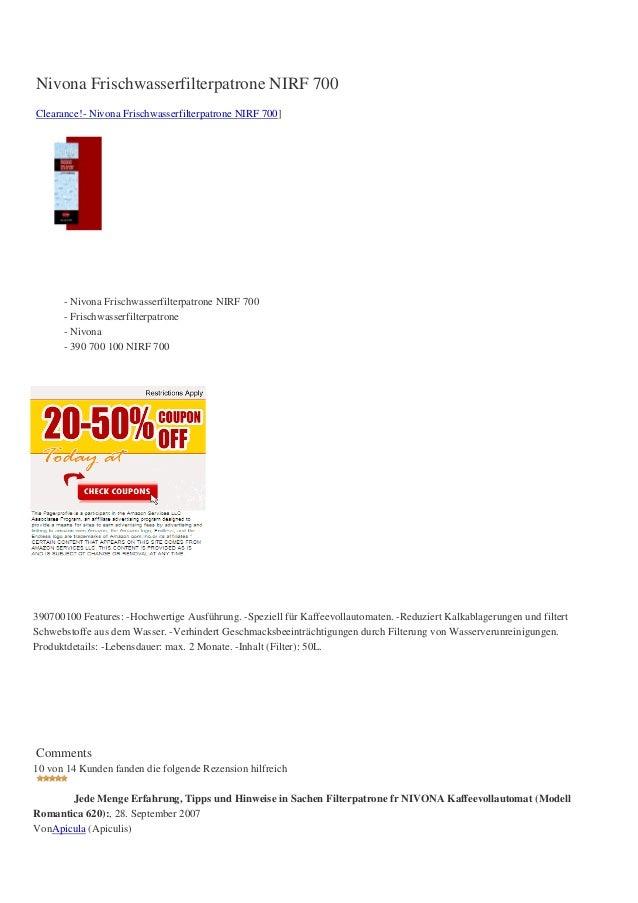 Nivona Frischwasserfilterpatrone NIRF 700Clearance!- Nivona Frischwasserfilterpatrone NIRF 700]      - Nivona Frischwasser...