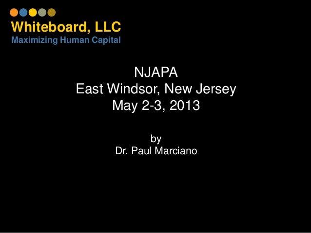 Whiteboard, LLCMaximizing Human CapitalNJAPAEast Windsor, New JerseyMay 2-3, 2013byDr. Paul Marciano