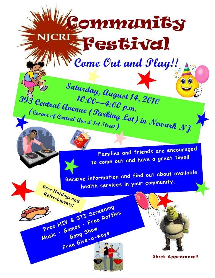 Njcri community festival  2010 flyer