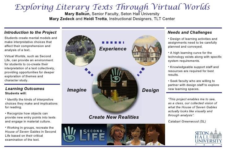 Exploring Literary Texts Through Virtual Worlds Mary Balkun,  Senior Faculty, Seton Hall University Mary Zedeck  and  Heid...