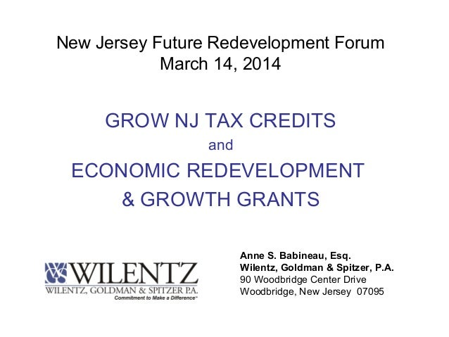 New Jersey Future Redevelopment Forum March 14, 2014 GROW NJ TAX CREDITS and ECONOMIC REDEVELOPMENT & GROWTH GRANTS Anne S...