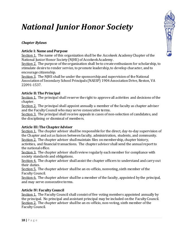 What is the national junior honor society??