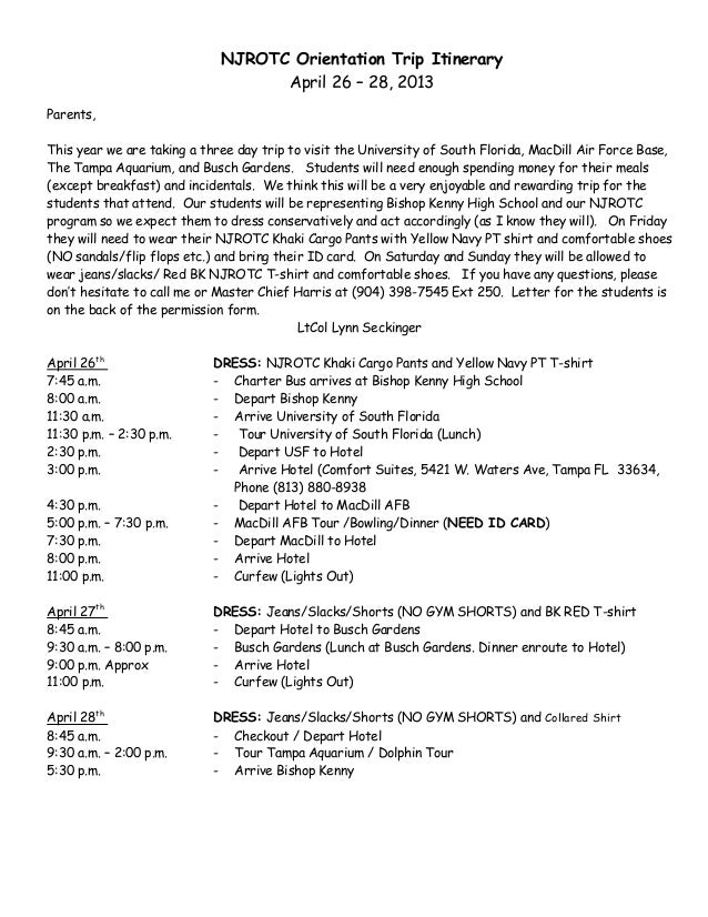 Bishop Kenny Njrotc Spring Trip Itinerary For Parents