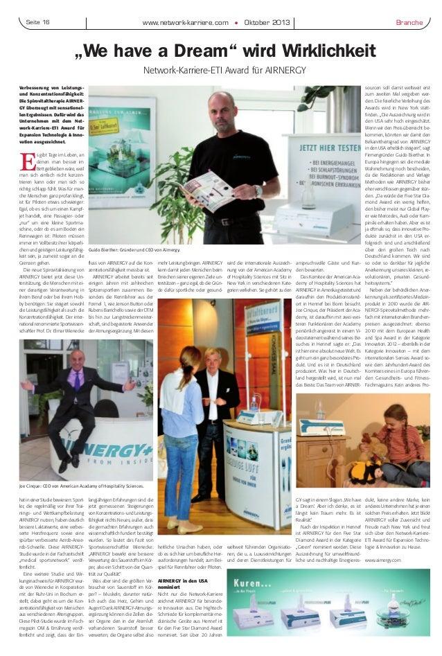 """www.network-karriere.com G Oktober 2013Seite 16 Branche """"We have a Dream"""" wird Wirklichkeit Network-Karriere-ETI Award für..."""