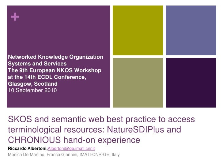 SKOS and semantic web best practice to access terminological resources: NatureSDIPlus and CHRONIOUS hand-on experience