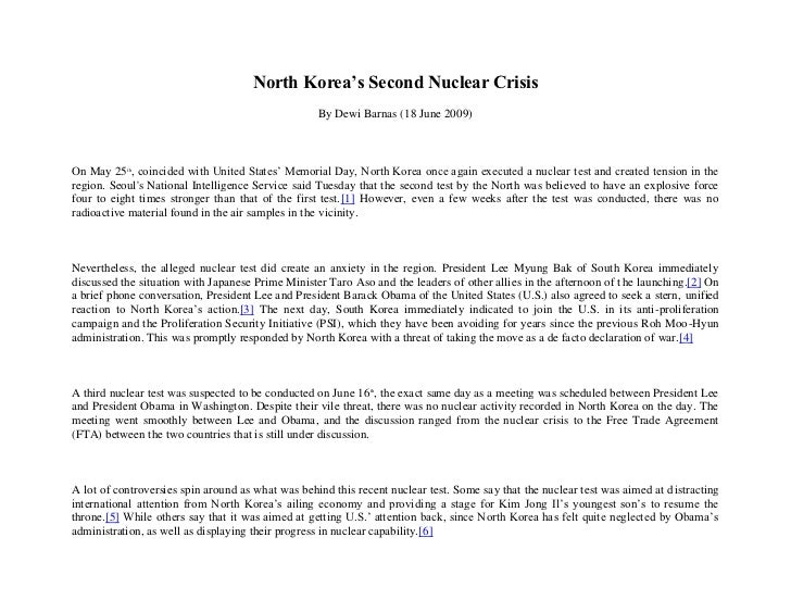 N Ks Second Nuclear Crisis (May June2009)
