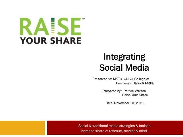 Integrating              Social Media         Presented to: MKT307/NKU College of                        Business - Banwar...