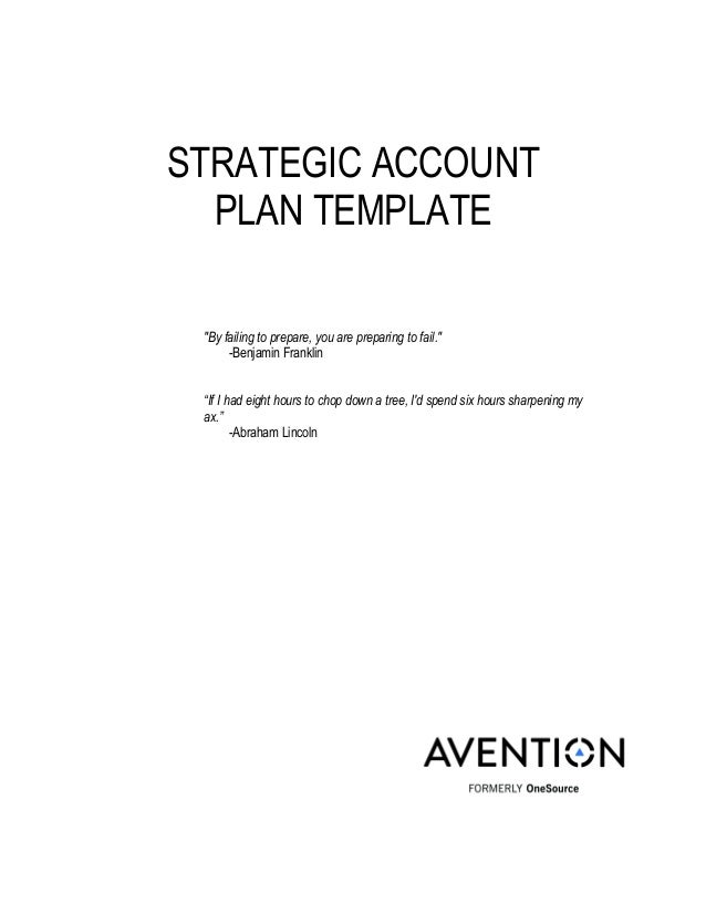 Strategic Account Management Plan Template Strategic Account Plan  Account Plan Templates