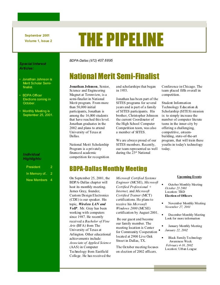 Newsletter: BDPA Dallas (Sep 2001)