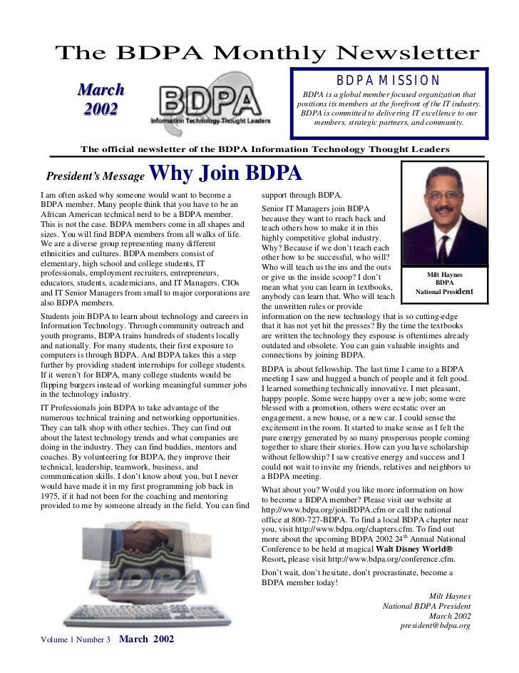 The BDPA Monthly Newsletter                                                                                        BDPA MI...
