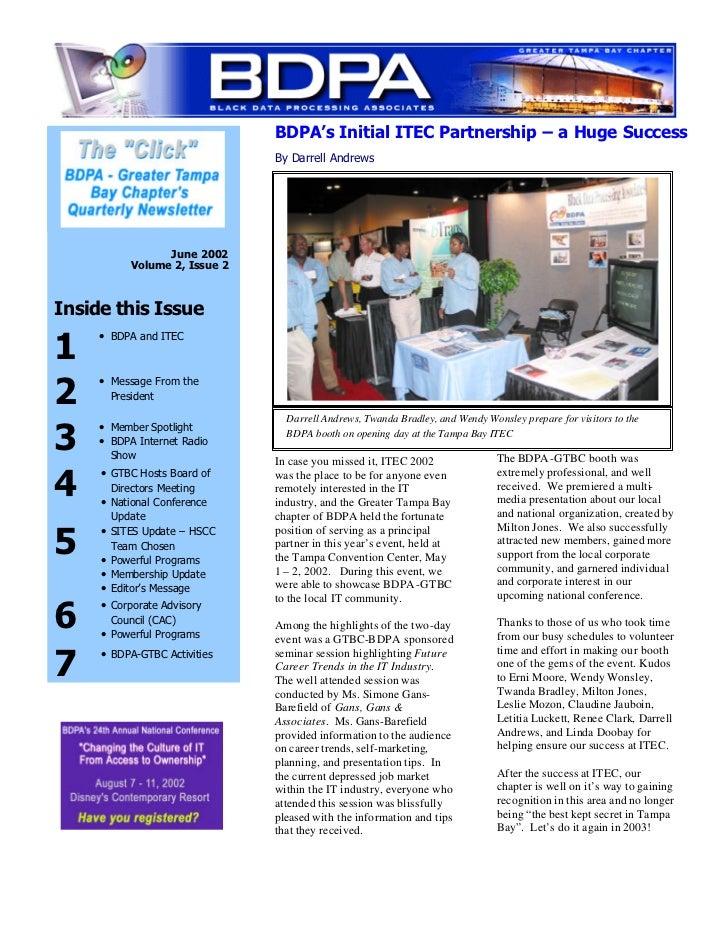 BDPA's Initial ITEC Partnership – a Huge Success                                 By Darrell Andrews                   June...