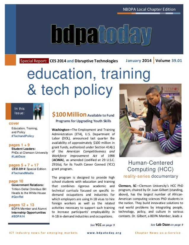 NBDPA Local Chapter Edition  January 2014 | Volume 39.01  Special Report: CES 2014 and Disruptive Technologies  education,...