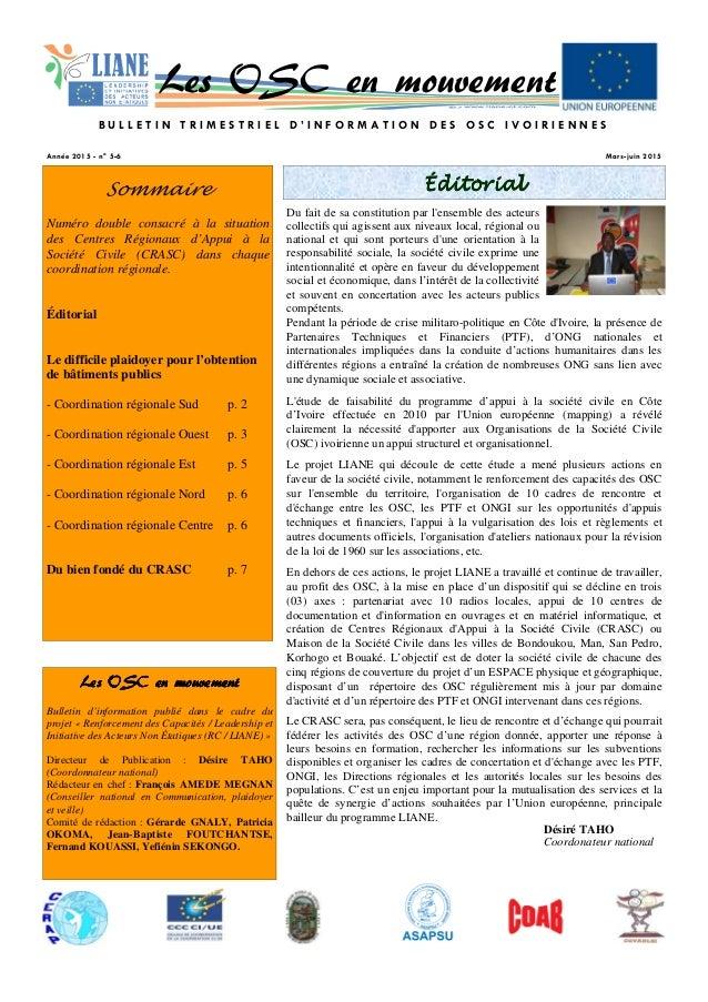 ÉditorialÉditorialÉditorialÉditorialSommaire Numéro double consacré à la situation des Centres Régionaux d'Appui à la Soci...
