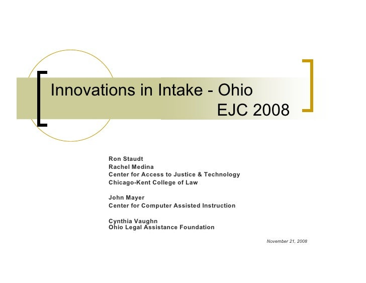Innovations in Intake - Ohio 11 21 2008