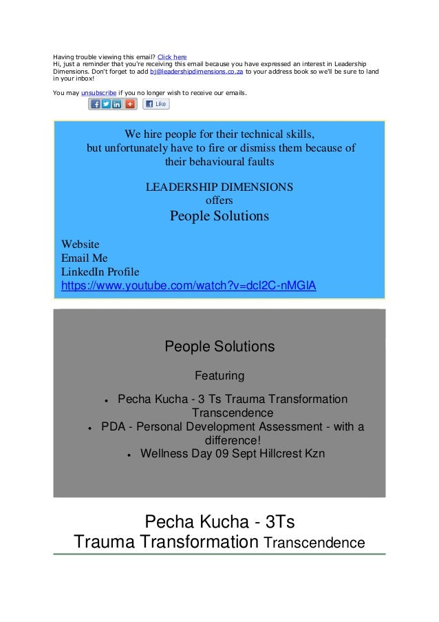 Newsletter August 2014 Leadership Dimensions Wellness Dimensions = pecha kucha pda wellness day