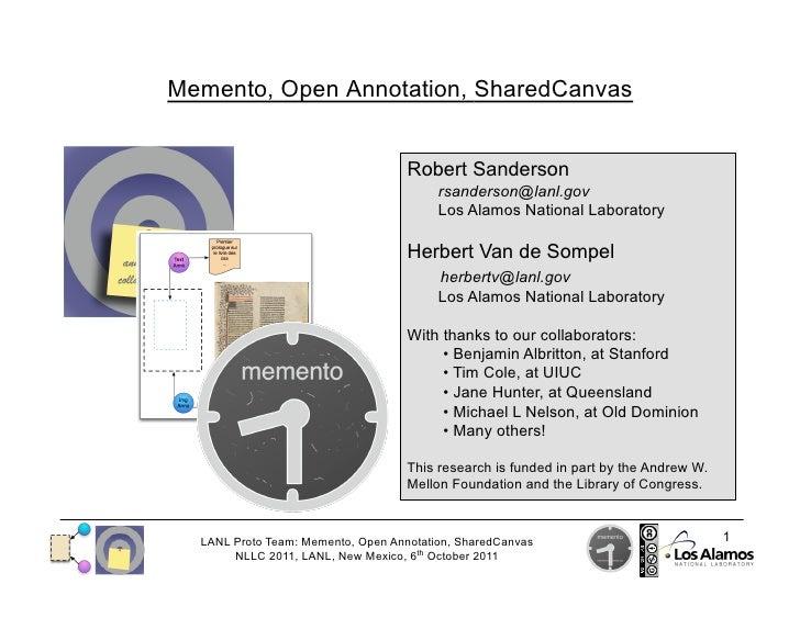 NLLC 2011: Memento, Open Annotation, SharedCanvas