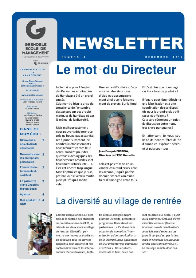 Newletter n°4, dispositif diversité Grenoble Ecole de ...