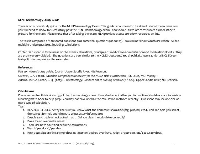 Nln pharmacology study guide final 6 3-2013