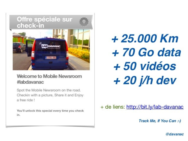 + 25.000 Km + 70 Go data + 50 vidéos + 20 j/h dev @davanac Track Me, If You Can :-) + de liens: http://bit.ly/lab-davanac