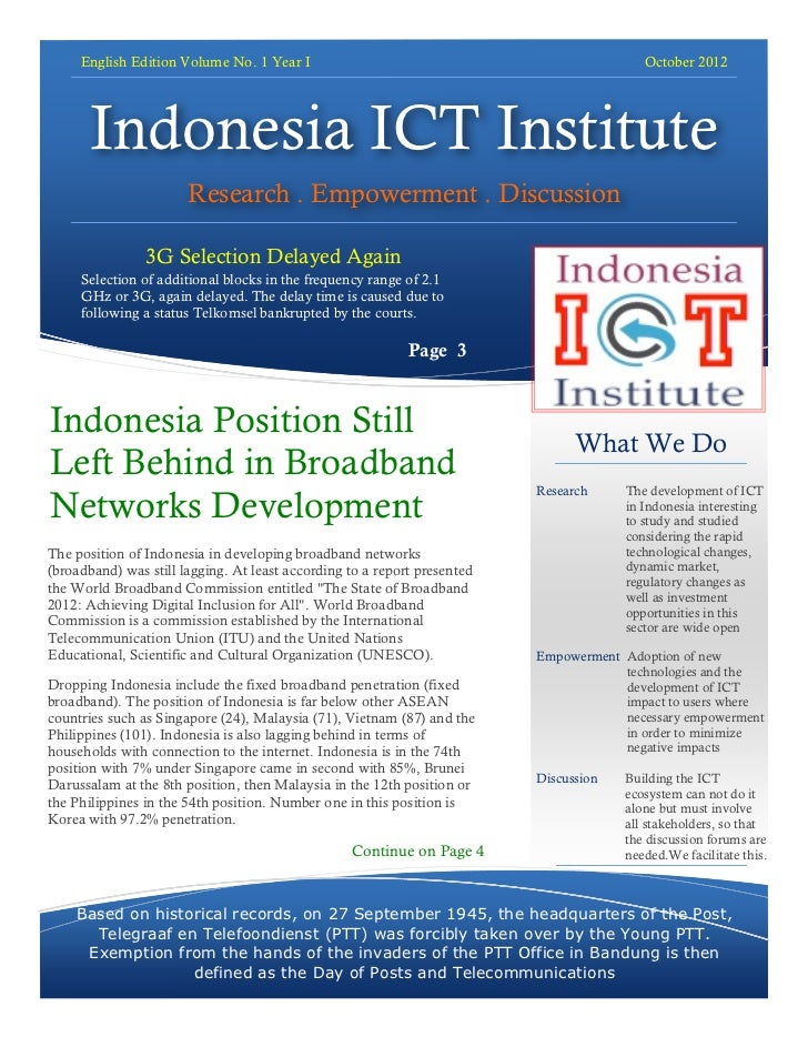 English Edition Volume No. 1 Year I                                                  October 2012       Indonesia ICT Inst...