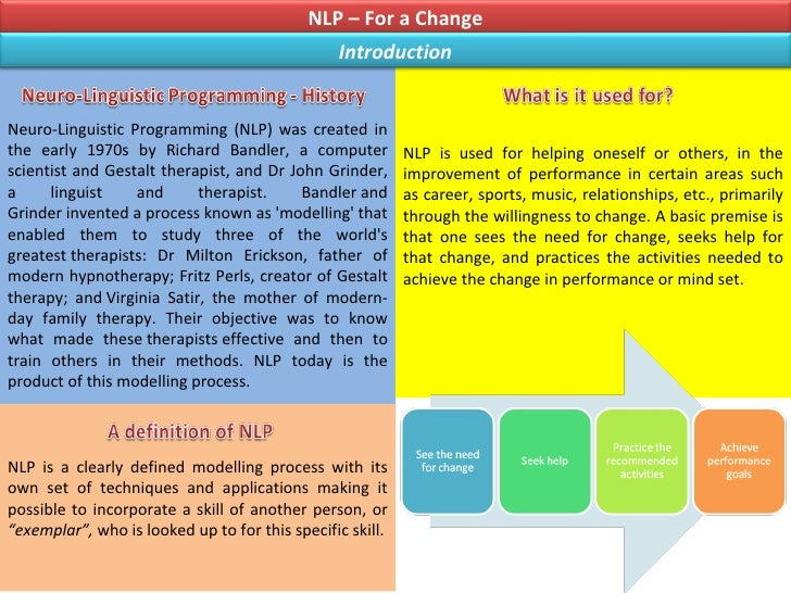 Neuro-Linguistic Programming (NLP) was created in the early 1970s by Richard Bandler, a computer scientist and Gestalt the...