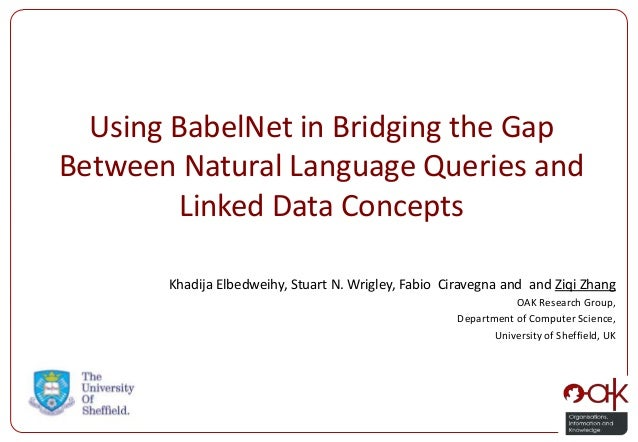 Using BabelNet in Bridging the Gap Between Natural Language Queries and Linked Data Concepts Khadija Elbedweihy, Stuart N....