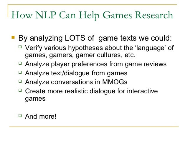Natural language processing for games research