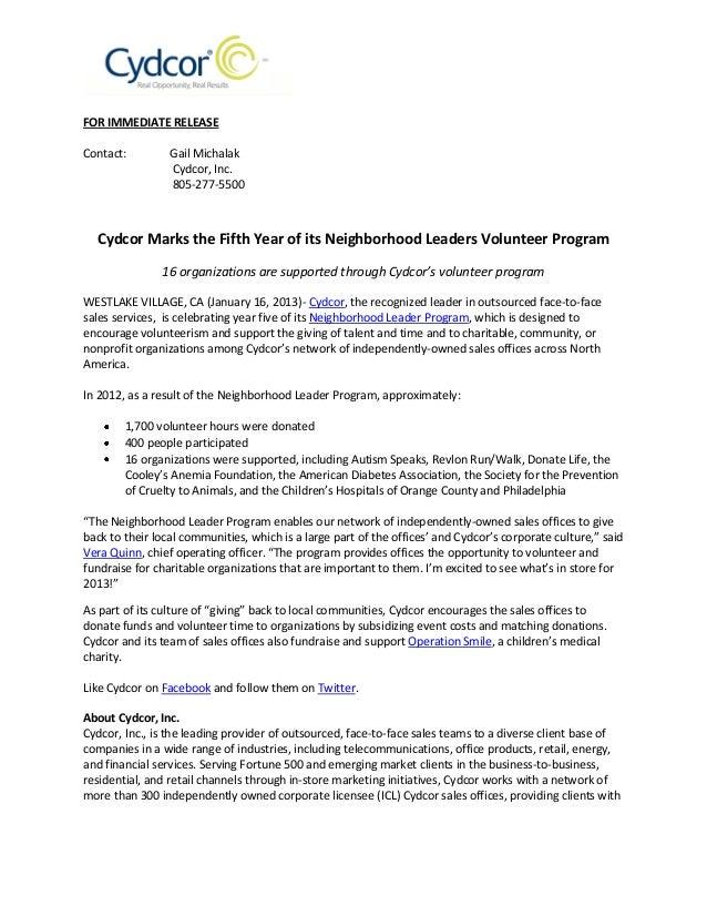 Cydcor Marks the Fifth Year of Its Neighborhood Leaders Volunteer Program