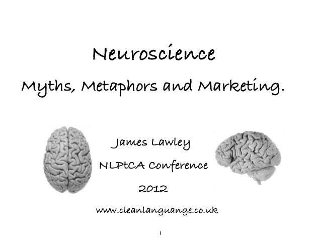 Neuroscience Myths, Metaphors and Marketing. ! James Lawley NLPtCA Conference 2012 www.cleanlanguange.co.uk 1