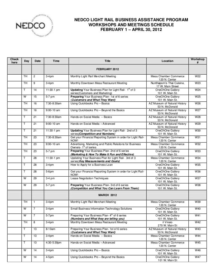 NEDCO LIGHT RAIL BUSINESS ASSISTANCE PROGRAM                                          WORKSHOPS AND MEETINGS SCHEDULE     ...