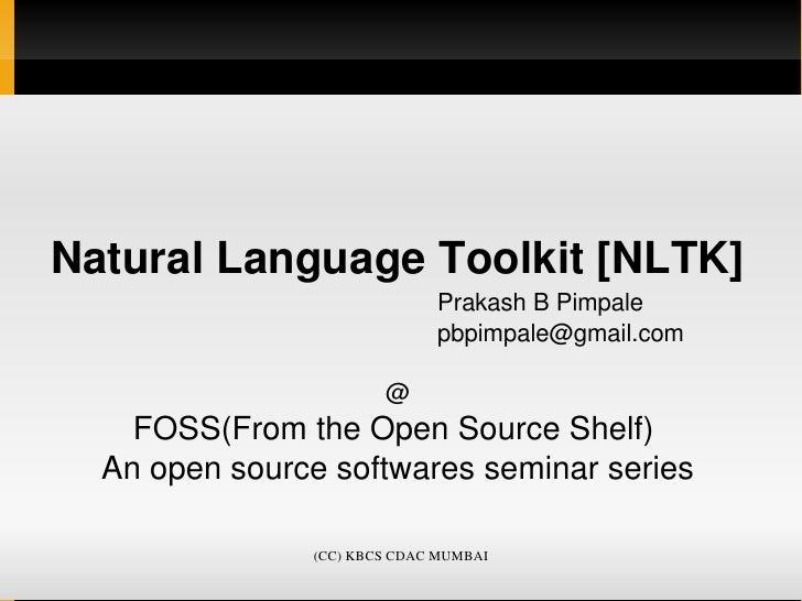 NaturalLanguageToolkit[NLTK]         PrakashBPimpale   ...