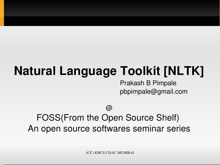 Natural Language Toolkit (NLTK), Basics