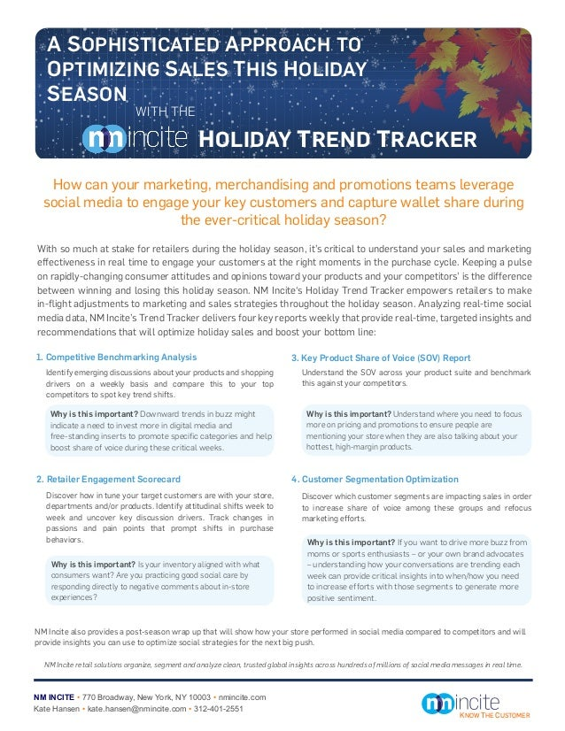 A SOPHISTICATED APPROACH TO   OPTIMIZING SALES THIS HOLIDAY   SEASON                               WITH THE               ...