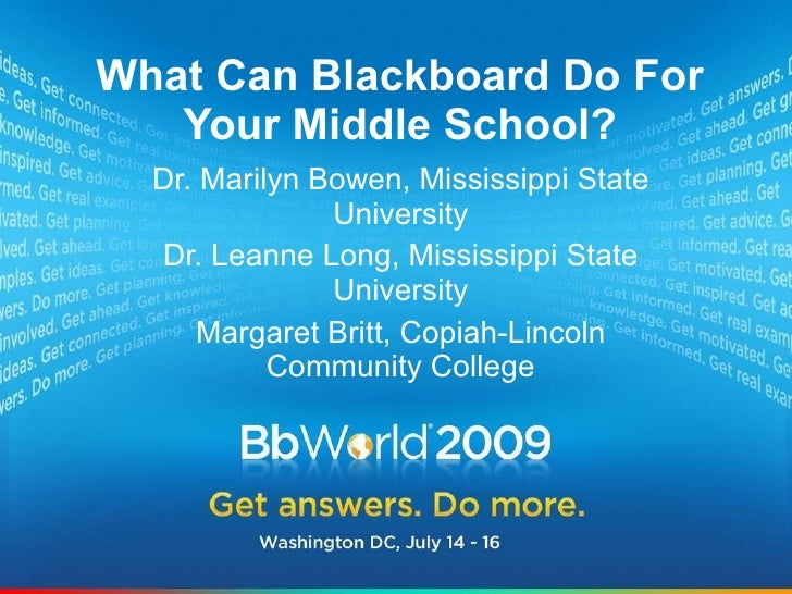 Best of BbWorld 09: What Can Blackboard Do For Your Middle School