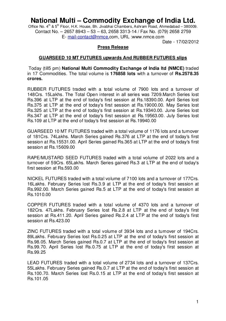 NMCE Commodity Report 17th February, 2012