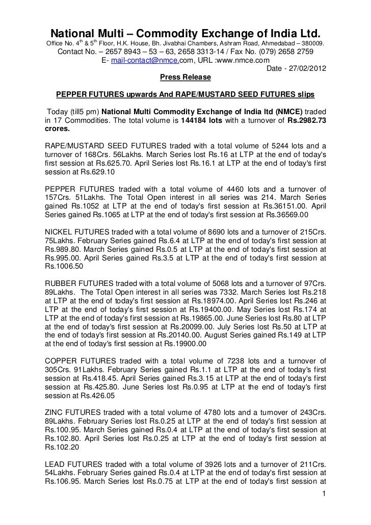 NMCE Commodity Report 27th February, 2012