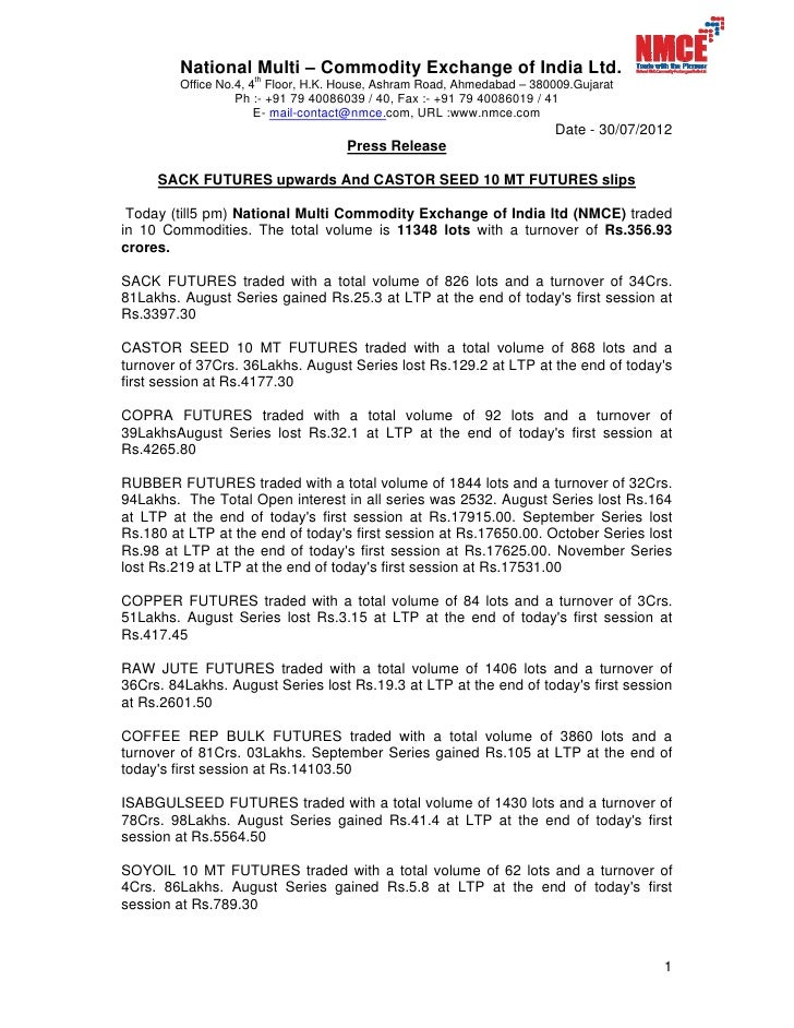 NMCE Commodity Report 30th July, 2012