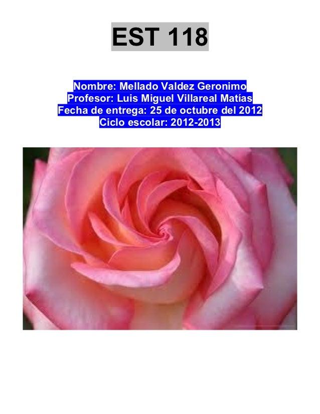 EST 118   Nombre: Mellado Valdez Geronimo  Profesor: Luis Miguel Villareal MatíasFecha de entrega: 25 de octubre del 2012 ...